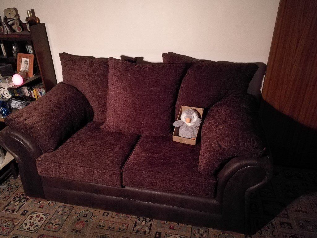 Sofa (x2) 3- & 2-seater. Dark brown with faux leather sides, snakeskin pattern, small wooden feet