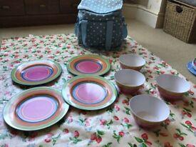 Melamine VW camper 4 plates & 4 Bowls orange pink blue green stripe