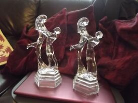 Glass figurines-a pair male and female dancers-perfect-unusual Art deco
