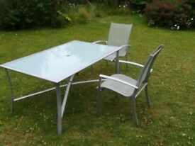Garden Glass Top Table and Two Garden chairs