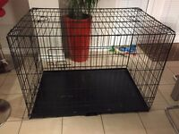 Large Dog Crate With Front & Side Entrance Plus Metal Tray in Black
