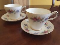 Argyle bone china teacups and saucers tea set , antique , vintage