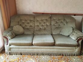 3 seater sofa, 2 armchairs and poufe in green dralon