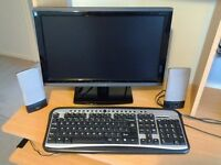 Monitor, keyboard and speakers