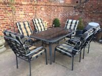 Patio / Garden 7 piece Metal / Glass Dining Table and Padded chairs