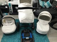 Limited Edition White VIB Swarovski Elements complete travel system - Pram, carrycot, car seat