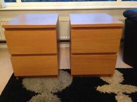 Nearly new! Malm bedside tables oak veneer