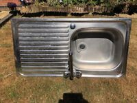 Stainless Steel single drainer sink with tap & waste