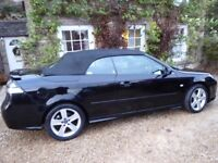 2010 SAAB 9-3 VECTOR SPORT 1.8T CONVERTIBLE, BLACK, MANUAL, PETROL, 56,000 LOW MILEAGE, HEATED SEATS