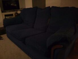 Blue 3 seater sofabed and matching armchair
