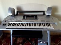 Yamaha Tyros 2 Work Station with Stand, Speakers, Stool and Pile of Books