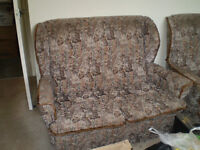 Small sofa/2 wing chairs. Tapestry covering