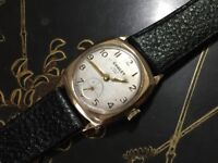 Vintage 9k 9ct solid gold Chalet mens cushion watch SALE
