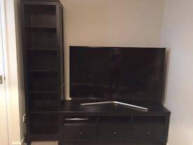TV bench HEMNES + Bookcase - black-brown colour