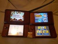 2 x Wine Red NINTENDO DSI XL RED WITH 3 GAMES NO CHARGER