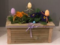 Easter themed, filled wooden planters