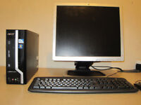 ACER setup, Intel Dual-Core 3.20GHZ x 2, WiFi, 4gb, Win 7, 19 inch LCD screen.can deliver
