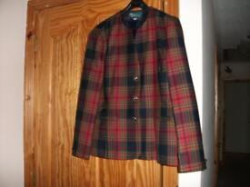 Menarii checked jacket. Pure new wool. Size 14.