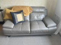 Light Grey Leather 2 Seater Sofa