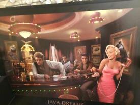 Java dreams led painting Elvis Presley, James Dean, Humphrey Bohart, Marilyn Monroe by Chris Consani