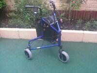 rollator walker/shopper 3-wheeler in blue.