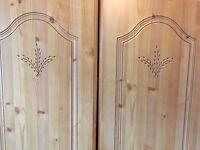 Pine wardrobe, drawers and Bedside units
