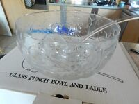 Glass Punch bowl With Glass Ladle ...Pretty Cherry Design...Perfect For The Festive Season