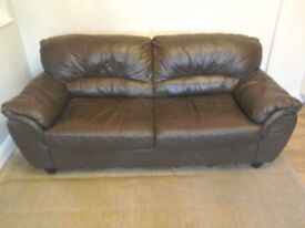 Sofa real leather brown sofa nice comfey sofa couch dark brown bargain for sale ready for collection