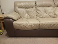 Corner leather sofa, worn area on one seat in hood condition