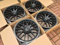 "4 x NEW 19"" MERCEDES BLACK C63 STAGGERED ALLOY WHEELS 5x112 112 POLISHED MERCEDES W203 W204 C CLASS"