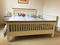 King Size Wooden Bed Frame 5ft in White with Pine