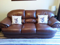 LEATHER THREE PIECE SUITE ( BROWN )