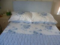 Headboard - Double size for sale, Duck egg blue, gingham check