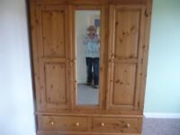 Solid wood pine triple wardrobe with mirror and drawers