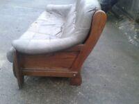 3 Seater Mink Leather Sofa.