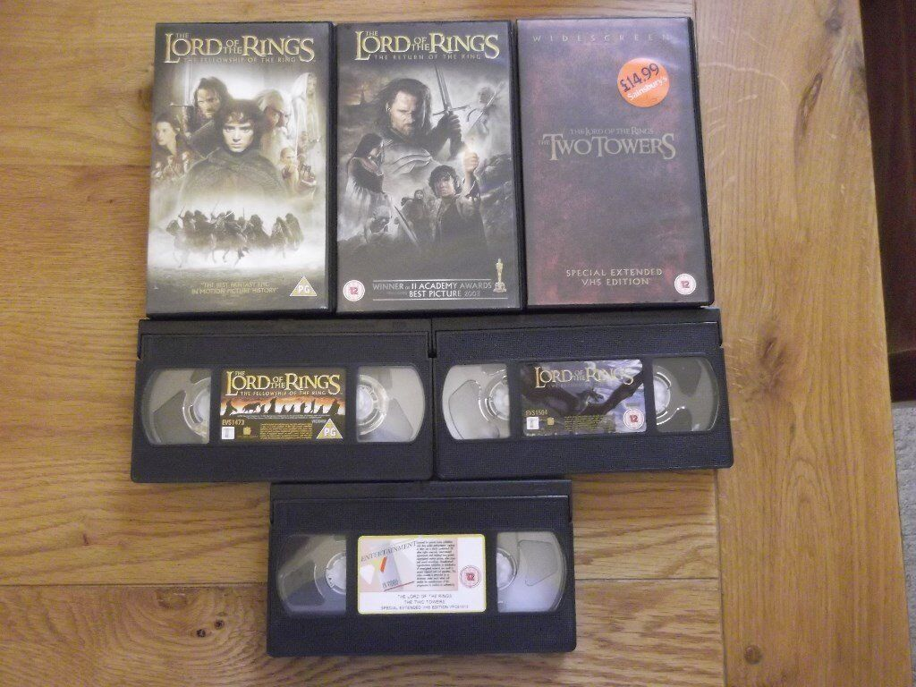Lord of the Rings - 3 pre-recorded films on VHS