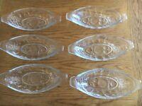 Set of 6 retro banana split glass dishes 1980's