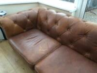 3 seater sofa light brown leather DFS