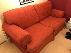 3 Seater Sofa. Red fabric. Good condition