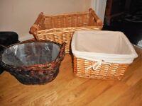 three storage baskets