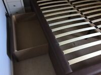 King Size Bed Frame - Brown Faux Leather
