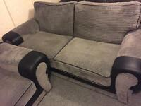Luxury large 2 & 2,Keens grey and black fabric sofas - immaculate condition