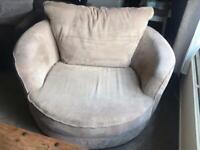 Cuddle love swivel armchair matching footstool