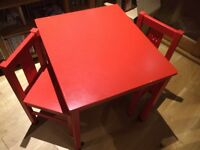 Red table and 2 chairs