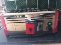 Burco 6 slice toaster , in need of attention . Body good condition . Red and Chrome .