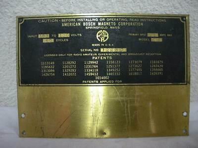 American Bosch Magneto Corporation Model 38 Brass Machinery Plaque