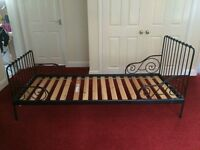 Kids extendable IKEA metal bed and mattress. Extends from cot bed to full single length