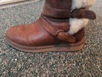 Light brown leather ugg boots size 5