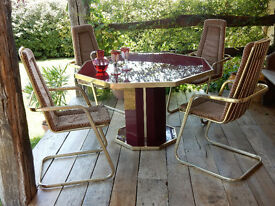 Mid-Century Octagonal Pedestal Retro Designer Dining Table/Chairs from SW France