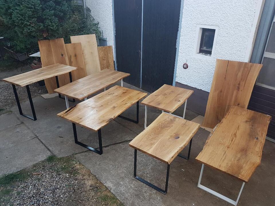Esstisch Eiche Massivholzplatte 5-5,5 cm Tisch Baumkante rustikal